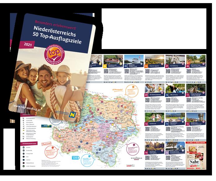 Die gedruckte Karte der Niederösterreichs Top Ausflugsziele